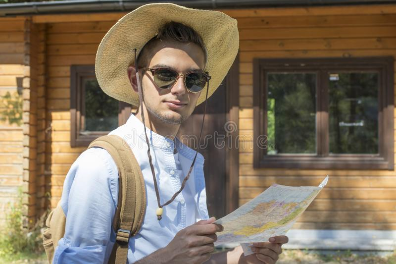 young traveller with the backpack stock image