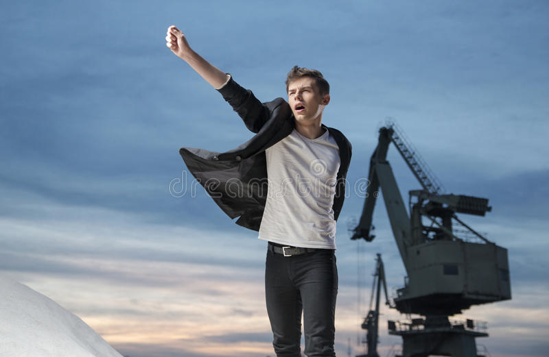 Young trendy clothed, handsome guy royalty free stock photo