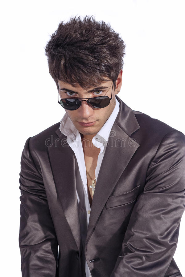Download Young Trendy Guy. Italian Man With Sunglasses And Open White Shirt Stock Image - Image of fashionable, clothes: 57033567