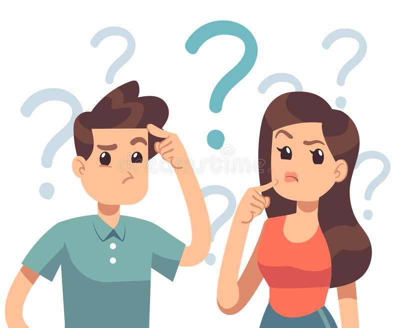 Young troubled couple. Confused woman and man thinking together. People with question marks vector illustration stock illustration