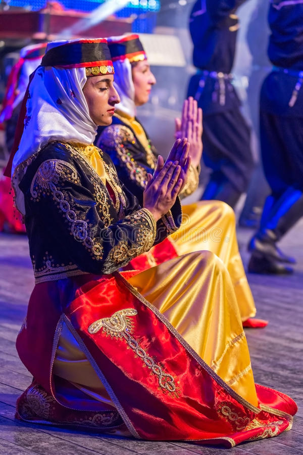 Young Turkish dancers in traditional costume royalty free stock photography