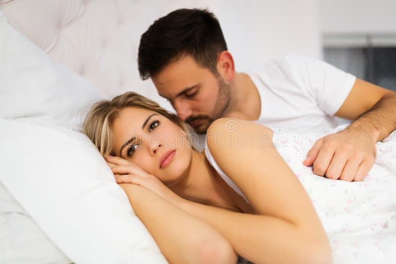 Young unhappy couple having problems in relationship royalty free stock photos