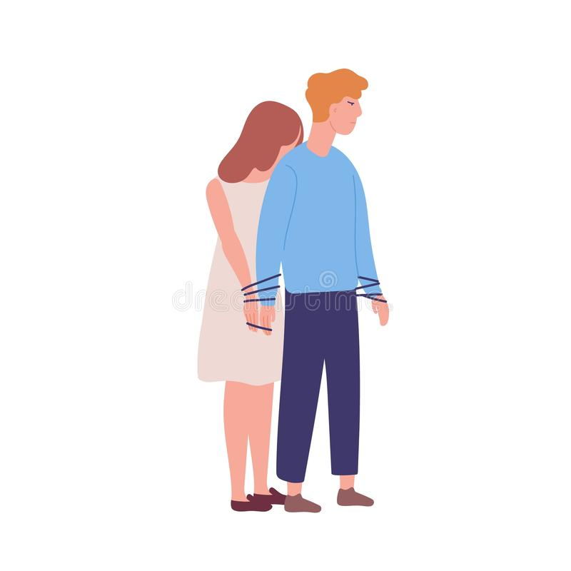Young unhappy woman tied to man. Concept of codependency, codependent relationship. Mental illness, behavioral problem. Psychiatric condition, obsession. Flat royalty free illustration