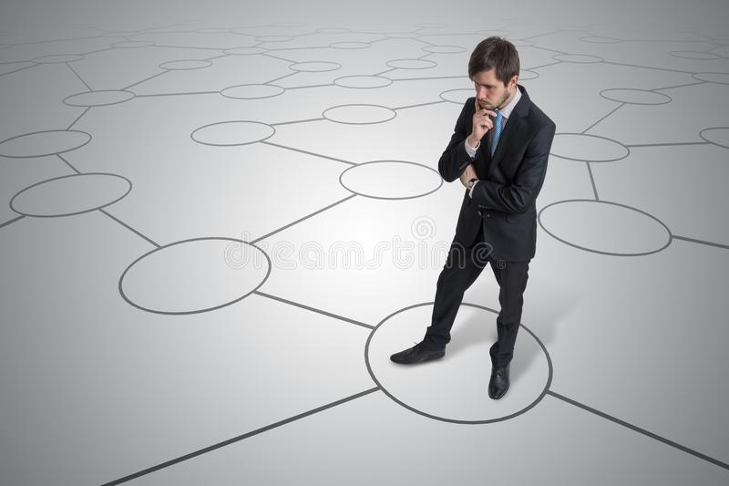 Young unsure man is making decision. Strategy and choice concept stock photos