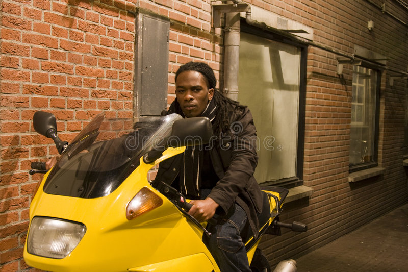 Download Young Urban African American Male On Motorcycle Stock Photo - Image: 6742818