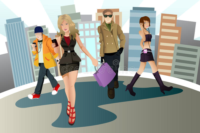 Young urban people stock illustration