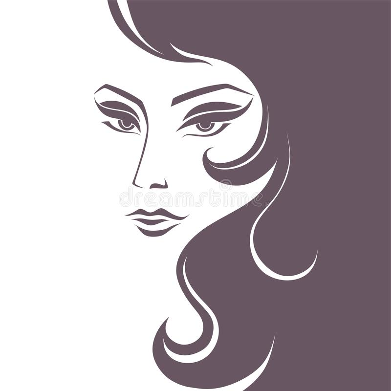 Young very beautiful woman monochrome image. Young very beautiful woman with long eyelashes, nice eyebrows and luxurious wavy hair monochrome image royalty free illustration