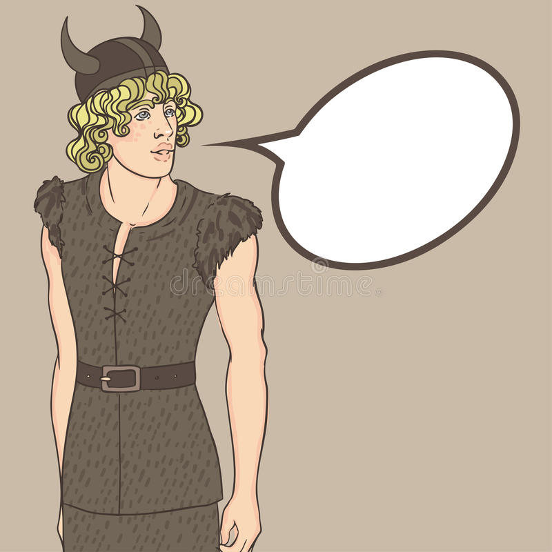 Young viking with speech bubble. Nordic warrior boy, Scandinavia stock illustration