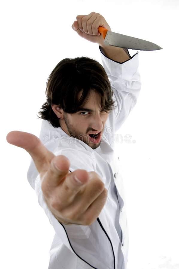 Young Violent Chef Royalty Free Stock Photo