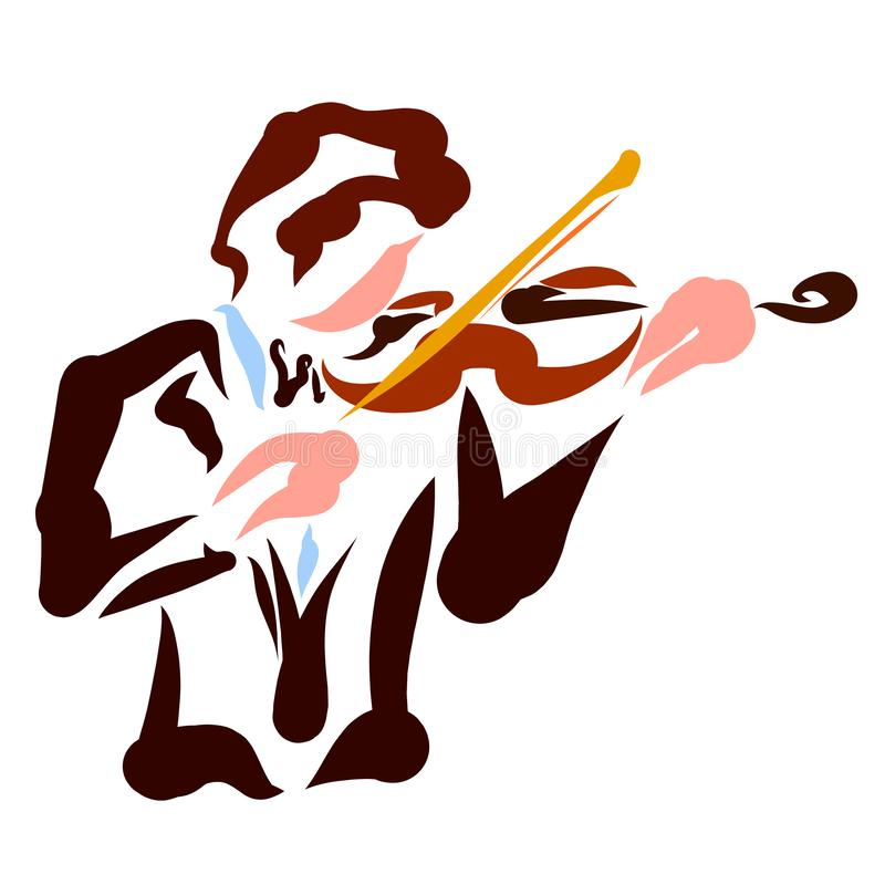 A young violinist, musical instrument, colorful pattern.  royalty free illustration