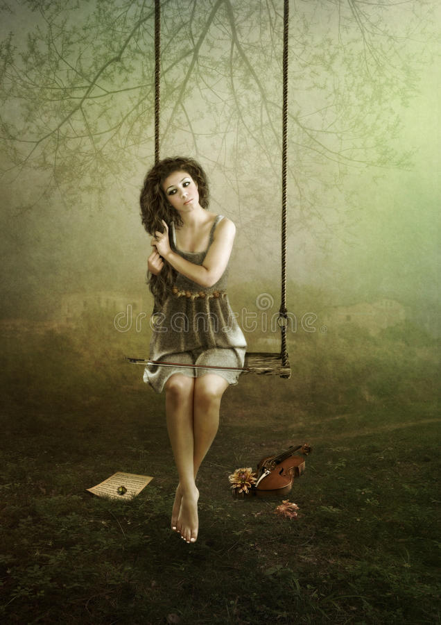 Young violinist on swing. Young violinist girl sitting on swing outdoors stock illustration