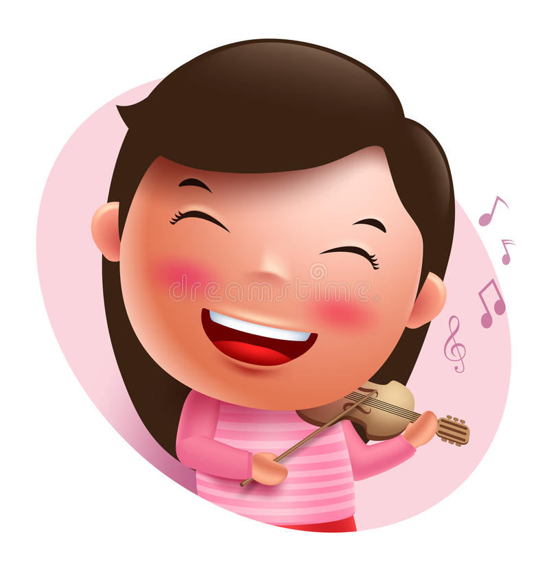 Young violinist vector character singing and holding violin isolated. In white background. Vector illustration vector illustration