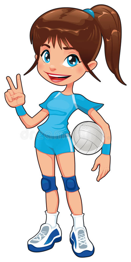 Young volleyball player. Funny cartoon and vector isolated character