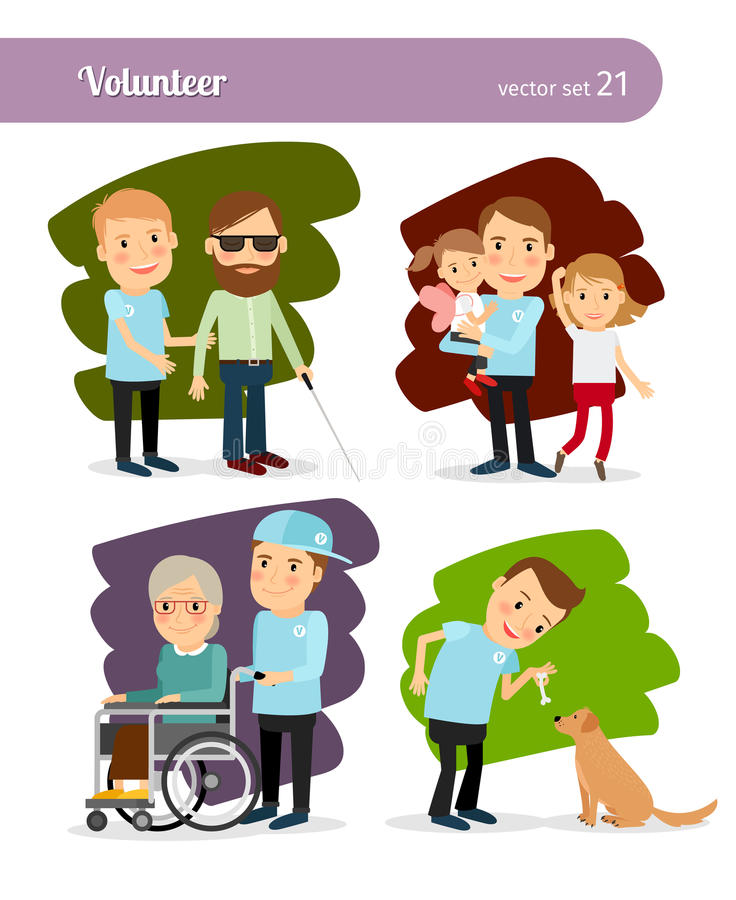Young Volunteer Characters Stock Vector Image 61056999