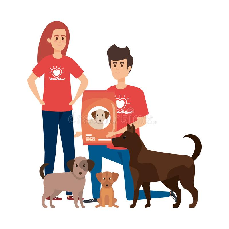 Young volunteers couple with cute dogs and food royalty free illustration