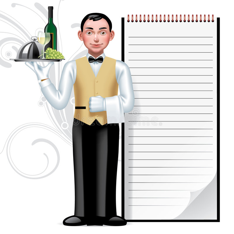 Young waiter. Raster version of vector image of a young waiter & writing pad There is in addition a vector format (EPS 8 stock illustration