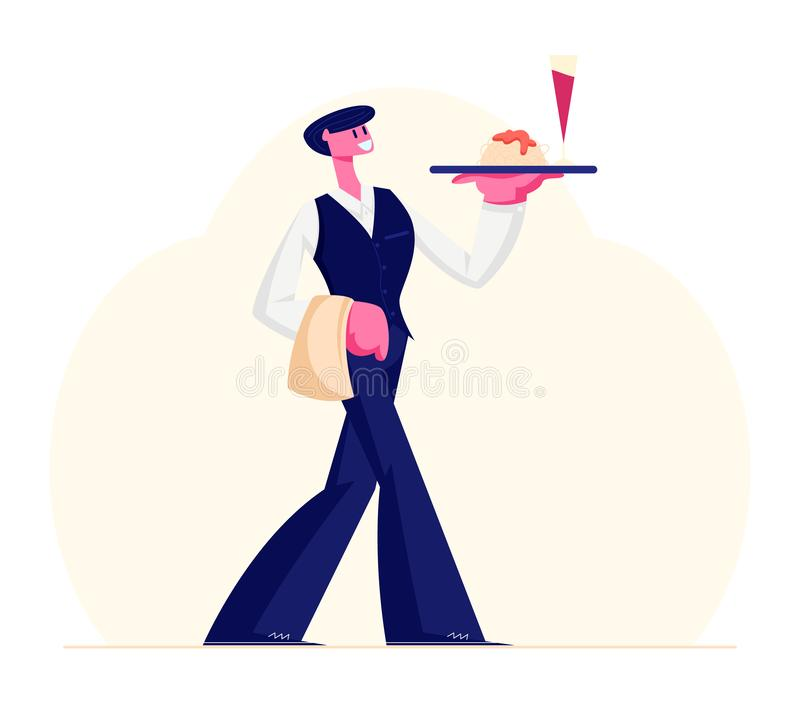 Young Waiter Male Character Wearning Uniform and Holding Towel Carrying Tray with Glass of Red Wine and Plate with Pasta royalty-vrije illustratie