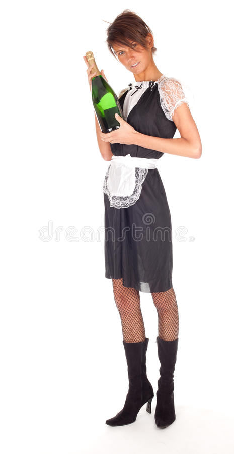 Young waitress with bottle of champagne