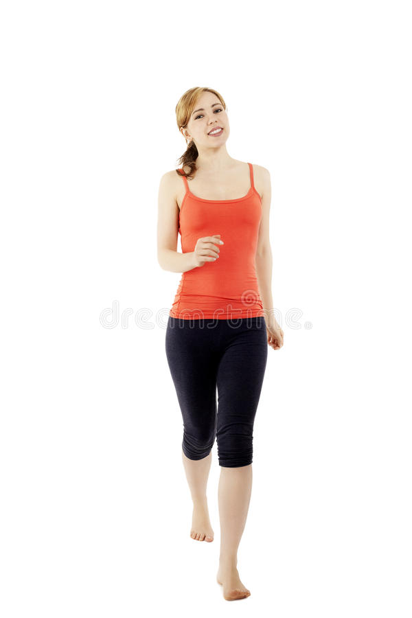 Young walking fitness woman stock images