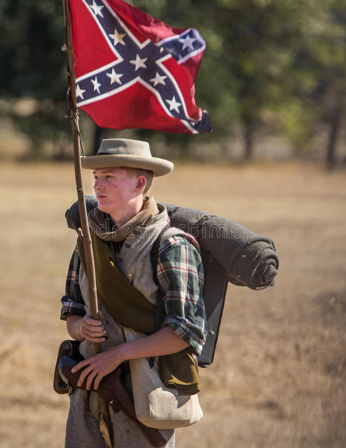 Young Warrior. Civil War era soldier after the battle at the Hawes Farm reenactment in Red Bluff, California stock image