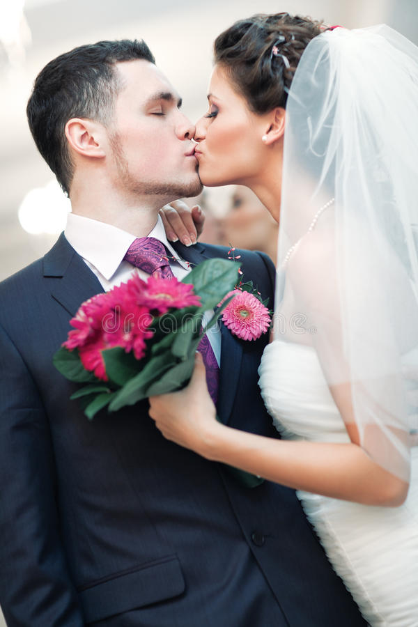Download Young wedding couple stock image. Image of kiss, beautiful - 17457229
