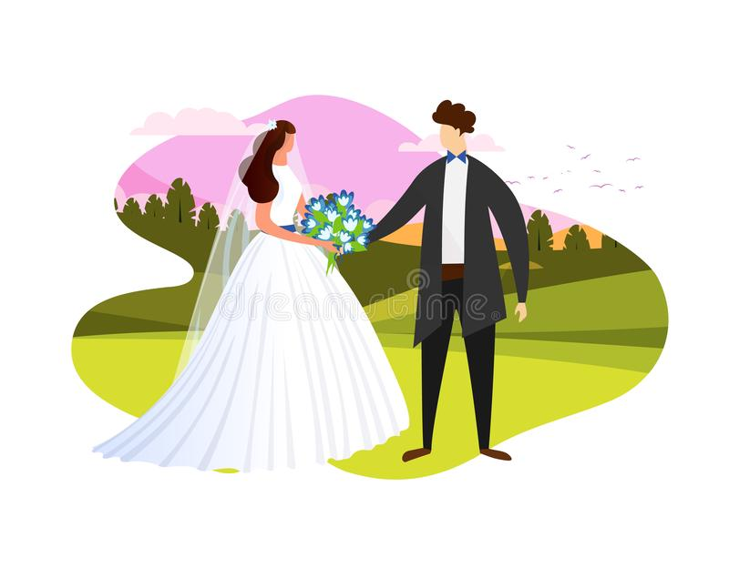 Young Wedding Couple Getting Married Open Air Icon. Young Lady in White Wedding Dress Holding Flowers Bouquet Standing Together with Man in Groom Suit on Sunset vector illustration