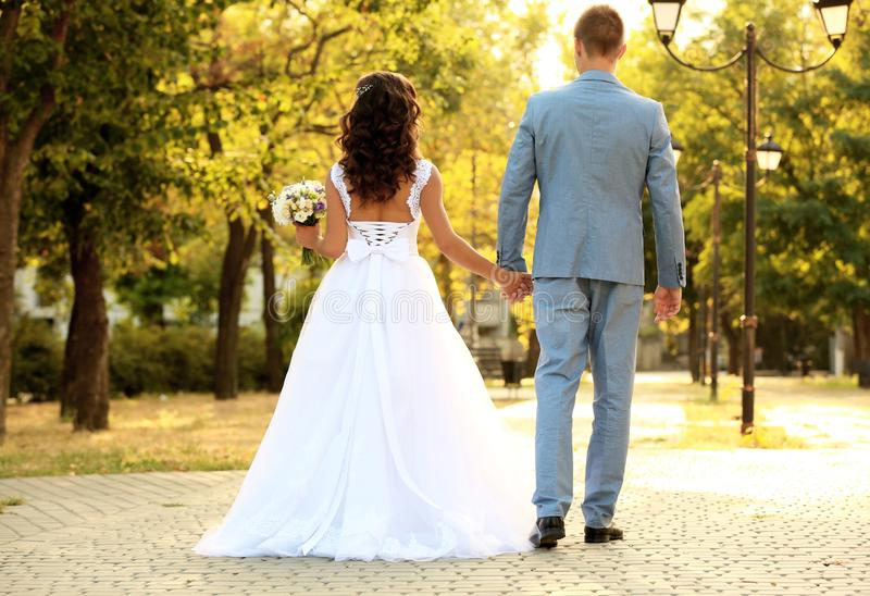 Young wedding couple holding hands while walking in park stock photography