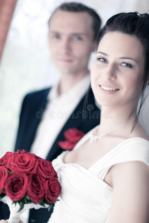 Download Young Wedding Couple Portrait Stock Photo - Image of romance, positive: 10141752