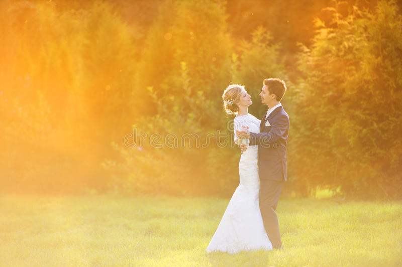 Young wedding couple on summer meadow royalty free stock photography