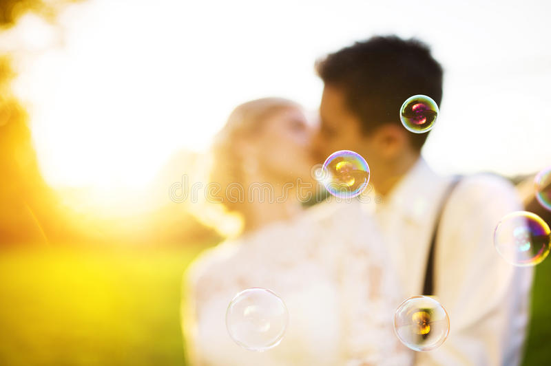 Young wedding couple on a summer meadow royalty free stock images