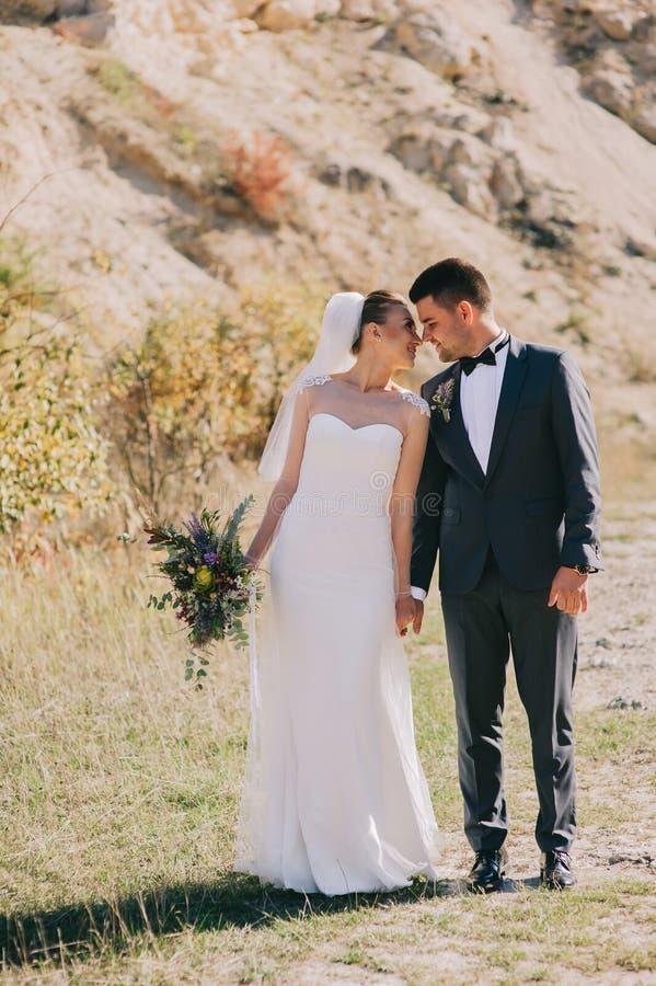 Young wedding couple walking royalty free stock photos