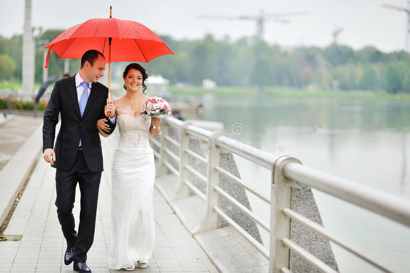 Young wedding couple walking at their wedding day royalty free stock image