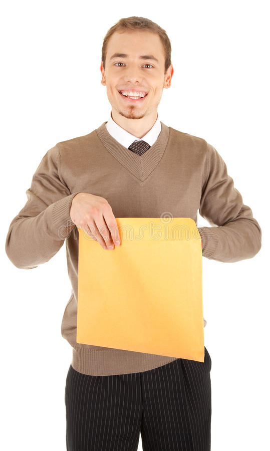 Young well-dressed man with an envelope. stock photography