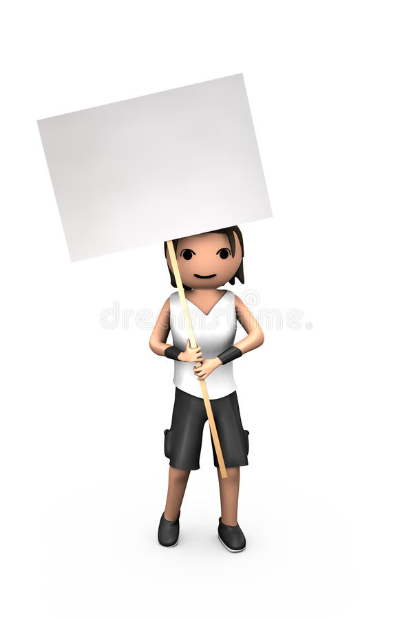 Young White 3D Guy Holding Blank Protest Sign. Young White 3D Male Holding Blank Protest Placard stock illustration