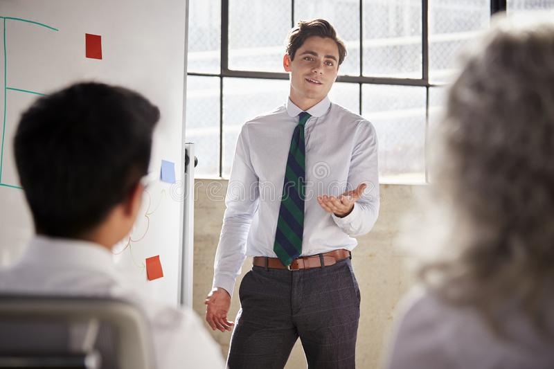 Young white businessman giving a presentation, close up royalty free stock photography