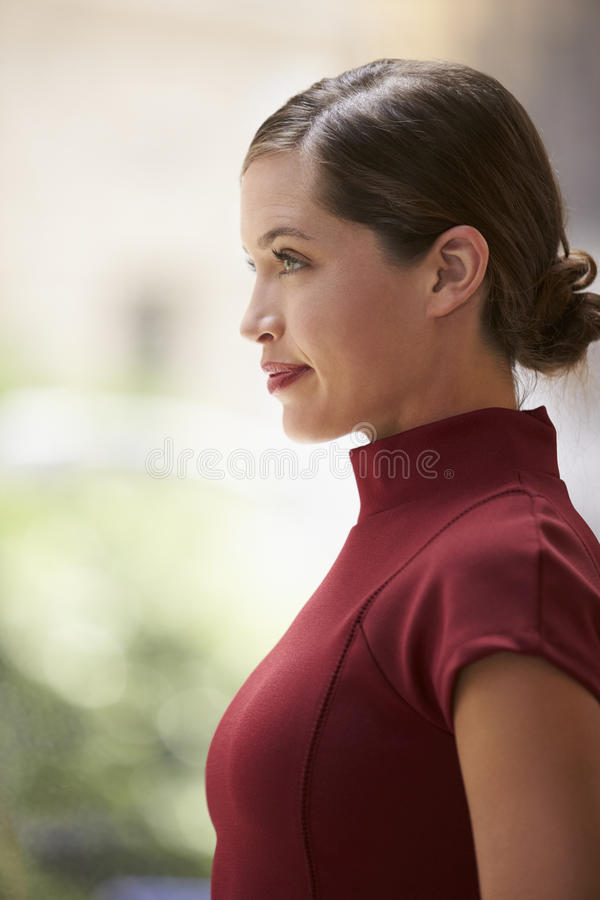 Young white businesswoman in maroon dress, side view, vertical royalty free stock image