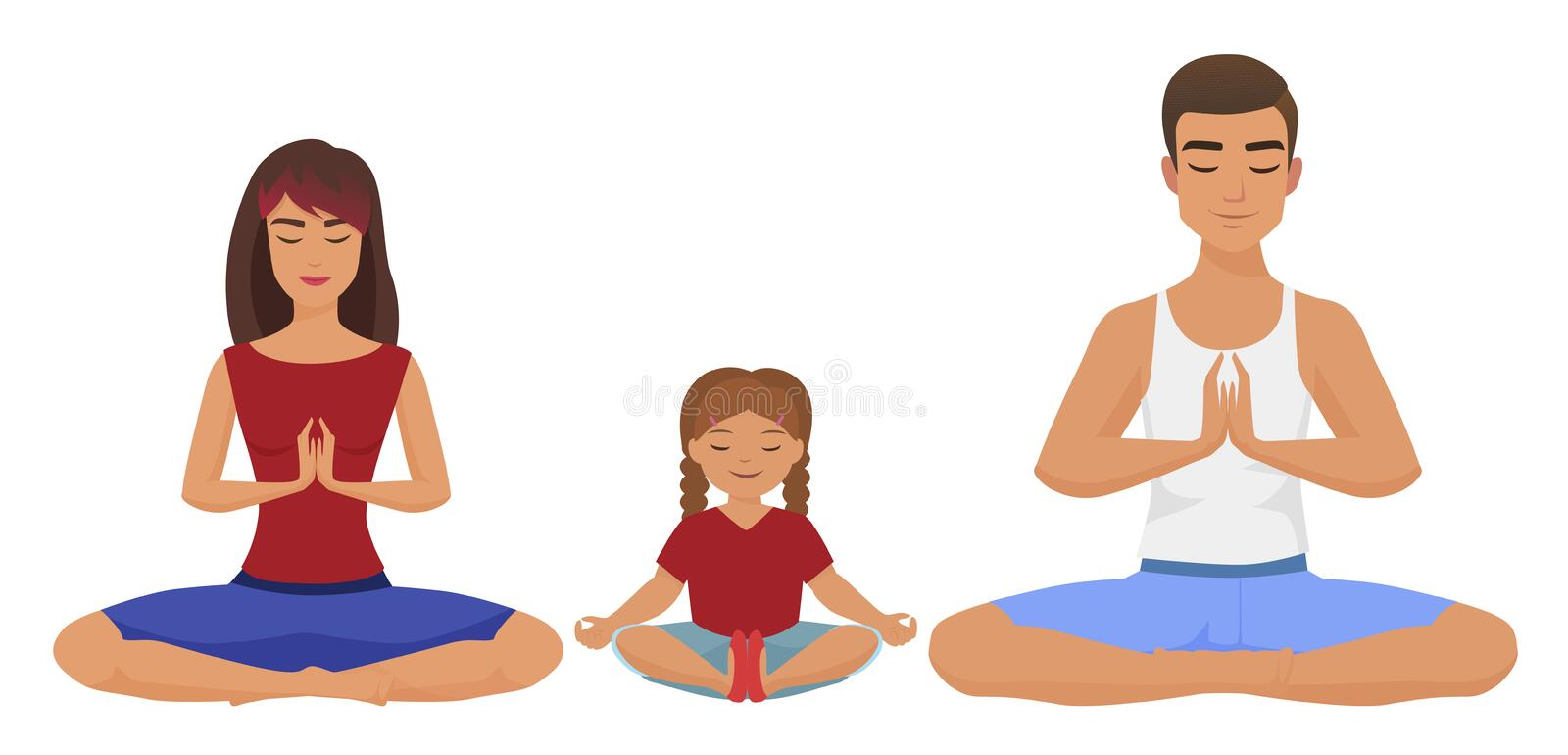 Young white family Yoga vector illustration. Lotus position isolated. Young white family Yoga vector illustration. Lotus position isolated stock illustration