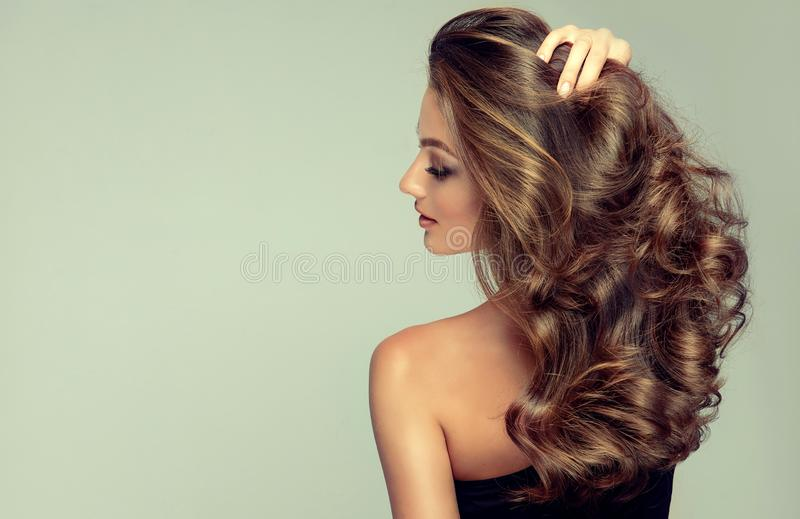 Light and tricky smile on the face of young, brown haired beautiful model with long,  curly, well groomed hair. royalty free stock photo