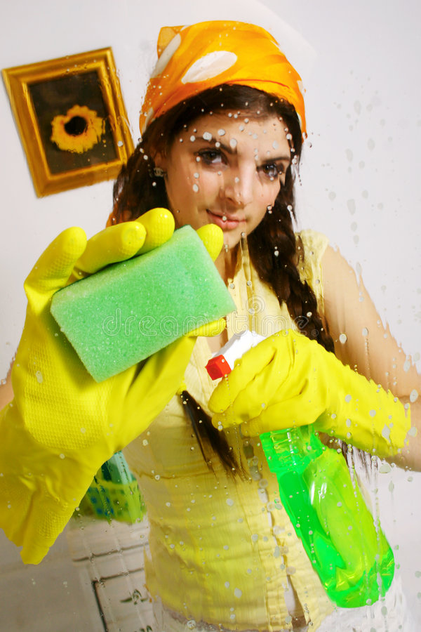 Young window cleaner stock images