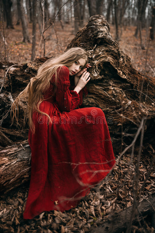Young witch in the autumn forest royalty free stock images