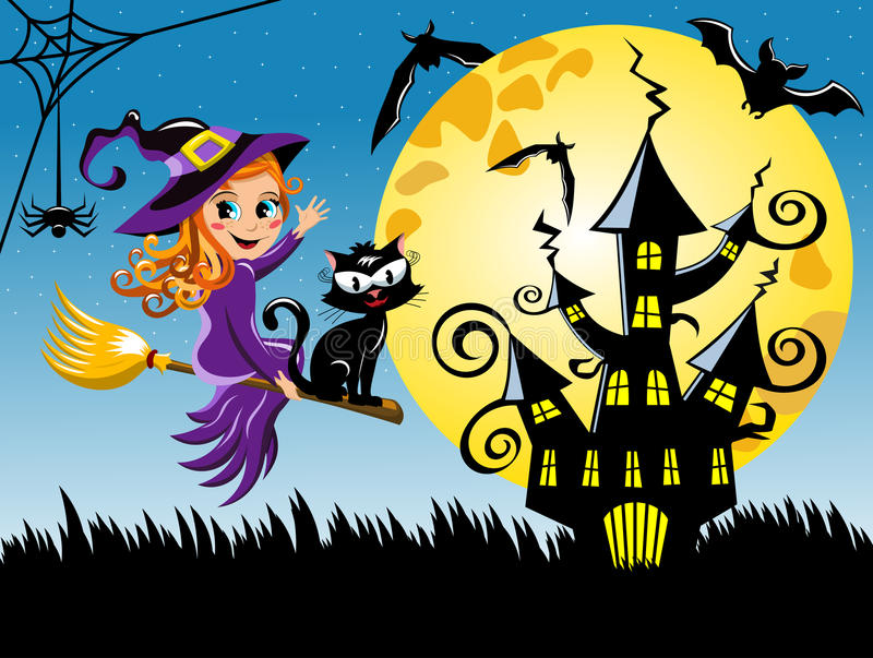 Young witch flying broom halloween night horizontal background vector illustration
