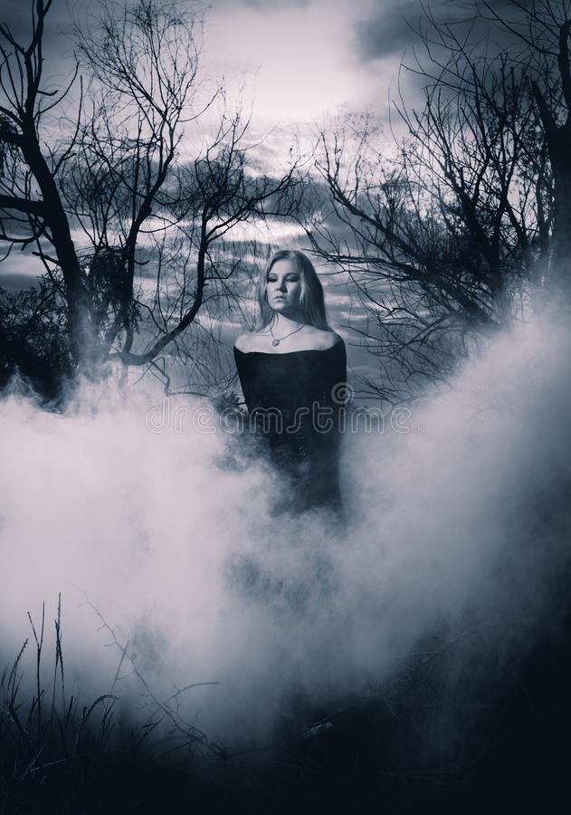 Young witch. Young woman in black dress standing in the fog, monochromatic shot stock image