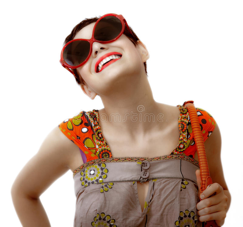 Young woman. With sunglasses and bag over white background royalty free stock photography