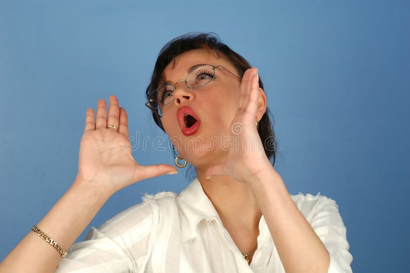 Download Young woman stock photo. Image of computer, shout, angry - 120330