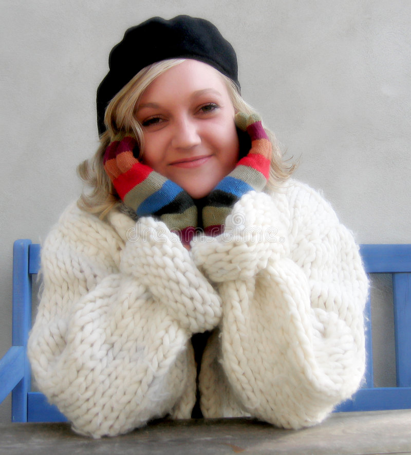 Download Young woman stock photo. Image of cardigan, bank, wool - 174668