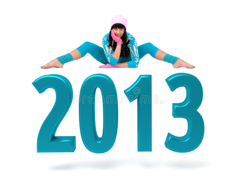 Download Young Woman And 2013 New Year Sign Stock Photos - Image: 27418453