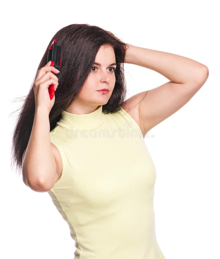 Download Young woman stock image. Image of human, head, combing - 26840679