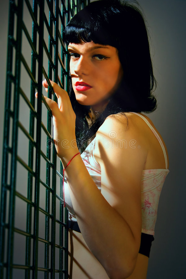 Young woman. Young darkhaired woman near a wire fence stock photos