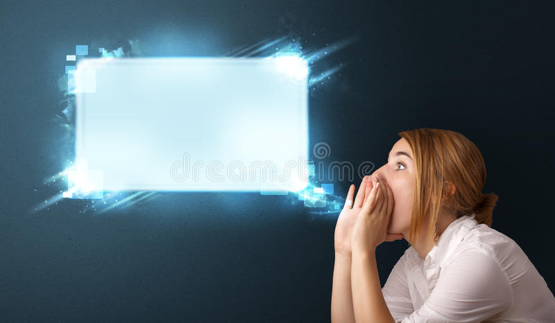 Download Young Woman With Abstract Modern Speech Bubble Stock Illustration - Image: 28655990
