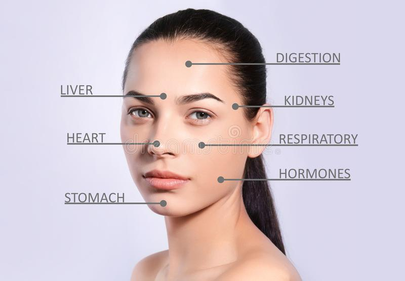 Young woman with acne face map. On grey background. Skin care and beauty stock photography